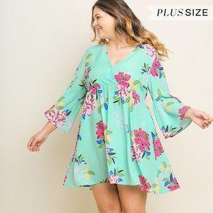 Umgee Plus Mint Floral Keyhole Back Babydoll Dress